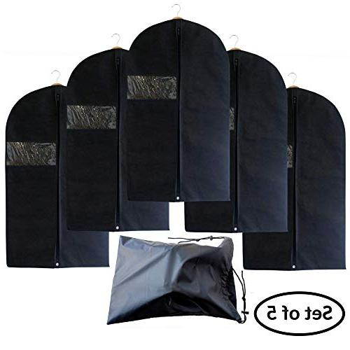 Garment Bag Covers Set 5 Dresses, Travel - Suit with Clear Window