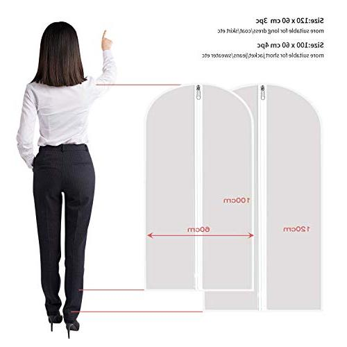 """Aufisi Garment Pack Quality Clothes Covers Clear Suit Breathable Full 4 Pcs 40"""" 24"""" Inch and Pcs 47"""" x Inch"""