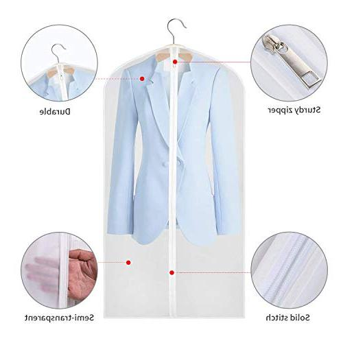 """Aufisi Garment Pack of Quality PEVA Moth Proof Clothes Suit Garment Breathable Full 4 24"""" Inch Pcs 47"""" Inch"""