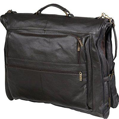leather three suit garment bag