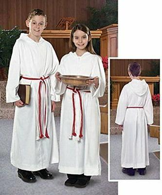 Liturgical Church Garment White Polyester Monastic Alb with