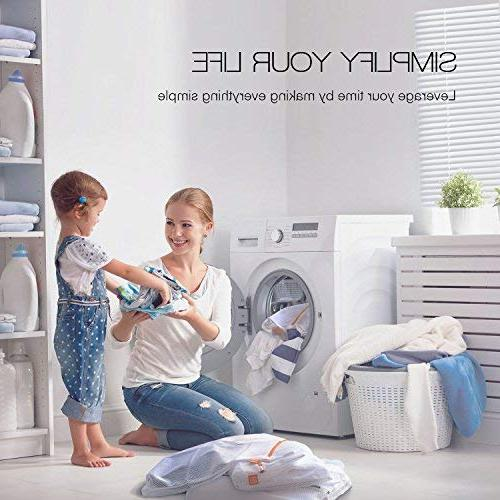 AURFLO Laundry Bag-Set of Heavy Duty with and Hanging Loop-Safe and Organizer for Travel, Pants, Bra, Jeans,