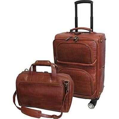 Traveler Croco Print Leather 2pc Spinner Luggage Set