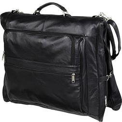 Leather Three-suit Garment Bag Black