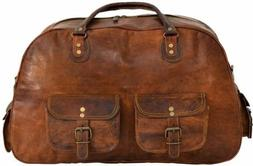 Men's Real Leather Travel Luggage Garment Duffel Gym Bags Me