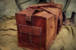 Men's Real Leather Travel Luggage Garment Duffle Bags Messen