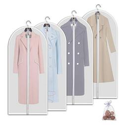 Allhom Moth Proof Garment Bags - Set of 4 pcs 60 inch Hangin