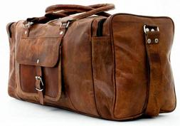New Men's Real Leather Travel Luggage Garment Duffle Gym Bag