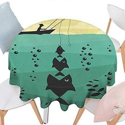 Round Tablecloth Suitable All Occasions, Fishing Decor Big F