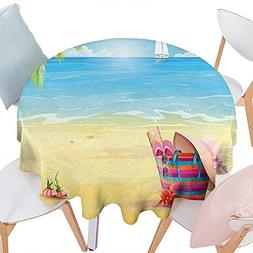 RoundTable Cloth duitable All Occasions, Summer Sandy Beach