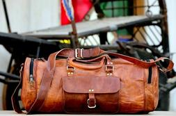 S to XL Men's Leather Travel Luggage Garment Duffel Gym Bags