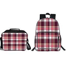"""iPrint 19"""" School Backpack & Lunch Bag Bundle,Checkered,Old"""