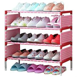 FKUO Shoes shelf Easy Assembled Non-woven 4 Tier Shoe Rack S