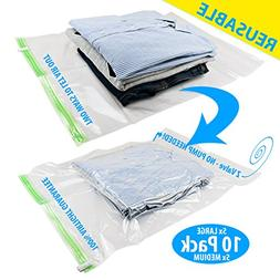 REUSABLE Packing Bags for Travel 5 Large, 5 Medium No Need P