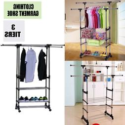 Stainless Steel Clothing Garment Shoe Rack Bag Hanger Closet