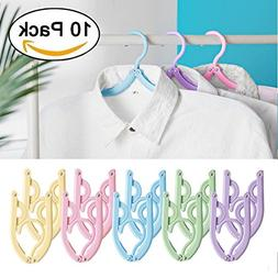 T&B Folding Clothes Hangers Portable Plastic Drying Rack Hoo