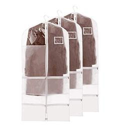 QEES 3 PCS Translucent Garment Bags for Storage, Full Zipper