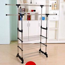 US 3-Tier Adjustable Garment Rack Shelf Clothes Bag Hat Hang