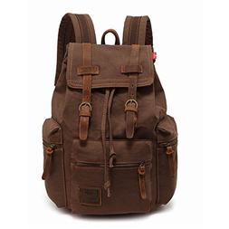 High Capacity Canvas Vintage Backpack - for School Hiking Tr