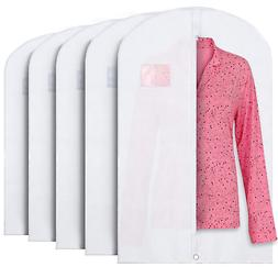 """40"""" White Hanging Garment Bags with Zipper & Window for Su"""