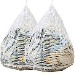 DurReus White Large Mesh Laundry Bags for Machine Washer Was