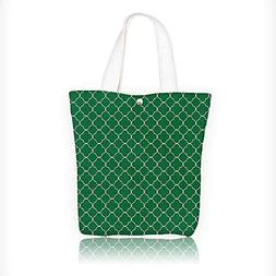 Women's Canvas Tote Bag, Four Leaf Clover Moroccan Trellis M
