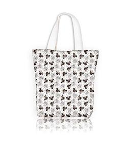 Women's Canvas Tote Bag seamless with pug dog and traces wor