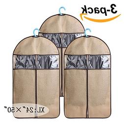 Set of 3 Large Garment Bags with Zipper and Transparent for